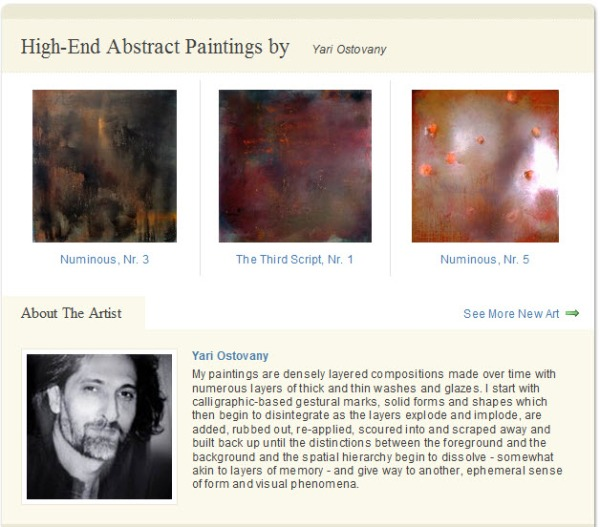 Now featuring Yari Ostovany on the homepage on DiscoveredArtists.com